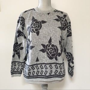 Vintage floral rose print boxy sweater